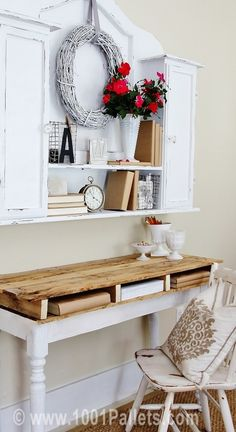 escritorio palet DIY: Rustic Pallet Top Desk in pallet furniture  with Pallets Desk