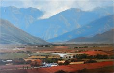Another scene from the Cape Winelands South African Artists, Landscape Art, Faeries, Originals, Art Ideas, Landscapes, Southern, Scene, Oil