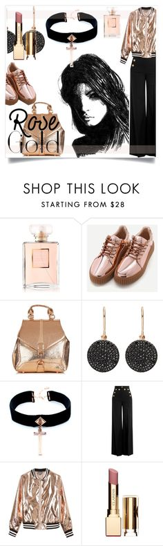 """""""So Pretty: Rose Gold Jewelry"""" by kari-c ❤ liked on Polyvore featuring Chanel, Astley Clarke, VSA, RED Valentino, Sans Souci, Clarins and rosegold"""