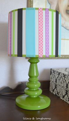 Easy and cute lamp makeover using ribbon and hot glue.  lilacs & longhorns blog