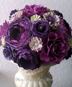 paper flowers purple | Paper Bouquet - Paper Flower Bouquet - Wedding Bouquet…
