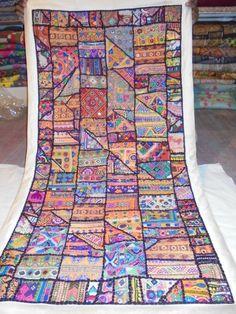 Indian Wall Hanging Tapestry Beaded Throw Decorative Vintage Handmade Art #Handmade
