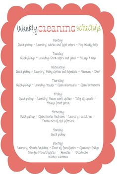 Weekly Cleaning Schedule-this might help me finally find a happy balance between work and household chores