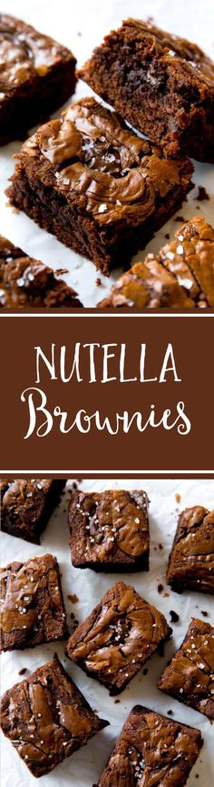 Completely outrageous Nutella brownies!! Rich, fudgy, chewy, dense, and perfect homemade brownies on sallysbakingaddiction.com