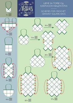 layouts of anything and everything you can do with crochet squares, circles, hexagones, triangles... from bags to tops, sweaters, shrugs... you name it!