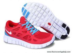 Cheap 443815-614 Sport Red White Blue Glow Mens Nike Free Run 2