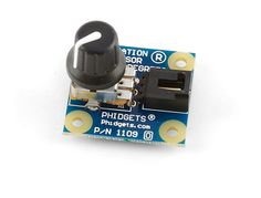 Rotation Sensor ($7 USD) - This rotary potentiometer has 300° of travel and connects to a Phidgets analog input.