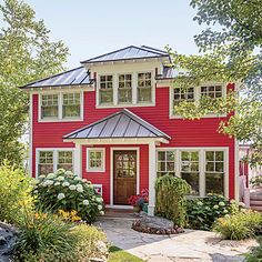 800756a572a0 Colorful Lake Michigan Cottage. Red ...