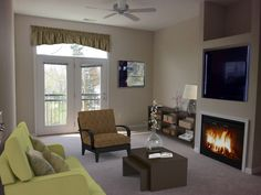 Fireplaces and built in TV shelves in select units.