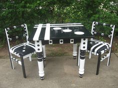 Funky Handpainted Black & White Kitchen Table With 2 Chairs