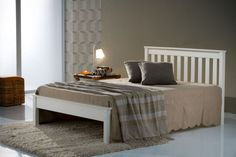 Colorado White Pine Bed Frame - - A new superb quality wooden bed frame with a white painted finish. Not a cheap wooden bed frame, it is a very good quality wooden bed frame! Chunky and substantial with excellent quality finish and attention to detail. Cheap Wooden Bed Frames, 4ft Beds, White Wooden Bed, Wooden Beds, Wooden Slats, Pine Bed Frame, Beds Direct, Pine Beds
