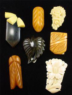 Lot 7 Vintage Caved Bakelite & Celluloid Dress or Fur Clips | eBay