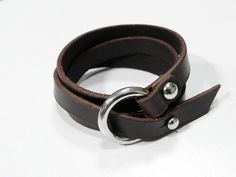 Leather Bracelet Wrap leather Bracelet in Brown with Silver Tone O Ring