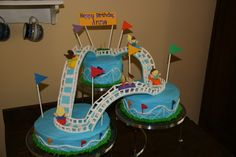 Roller coaster - A roller coaster cake for my niece's birthday.  The track and cars are made out of gum paste