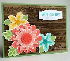 Stampin' Up! Flower Patch Birthday Card Elaines Creations, Harwood, emboss resist