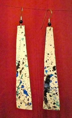 Jewelry - Streetash - upcycled jewelry - bike tube earrings - speckled - looks kind of like jackson pollock - recycled