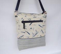 Schultertaschen - Maritime Schultertasche :: creme blau :: Möwen - ein Designerstück von frau-kaliki bei DaWanda