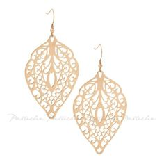 Pastiche Cut Out Leaf Earrings in IP Rose Gold Steel (1252540 BYR) ❤ liked on Polyvore featuring jewelry, earrings, women's accessories, steel jewelry, rose gold jewellery, pink gold earrings, red gold jewelry and leaves earrings