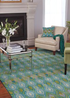 Company C (one of my Fav home dec companies) tufted wool rug,Art Deco peacock blues and greens, peacock motif, turquoise, citron, green