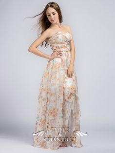 Long Floral Printed Sweetheart Chiffon Bridesmaid Dresses with Slit 4