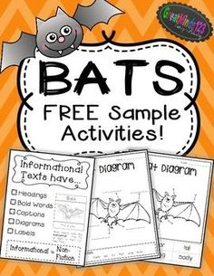Included are a FREE informational text anchor chart, a cut and glue bat diagram and a fill-in the blank bat diagram. Below is information on the FULL bat unit. To purchase the full unit, go to:Visit Bats Common Core Non-Fiction Unit FULL Bat Unit Includes First Grade Science, Kindergarten Science, Preschool, Science Halloween, Text Feature Anchor Chart, Informational Writing, Nonfiction, First Grade Reading, Teaching Reading