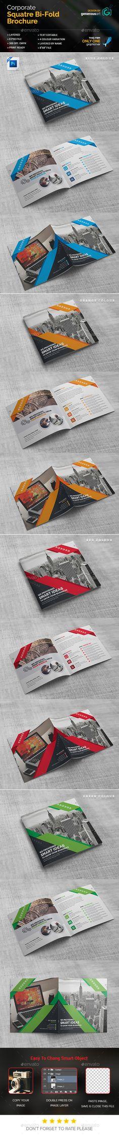 Business Square Bi-Fold Brochure Template PSD. Download here: https://graphicriver.net/item/business-square-bifold/17436745?ref=ksioks