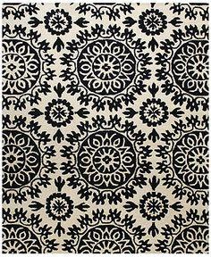 "Bashian Area Rug, Gramercy HG252 Ivory/Black 8'6"" x 11'6"" - Transitional Rugs - Rugs - Macy's"