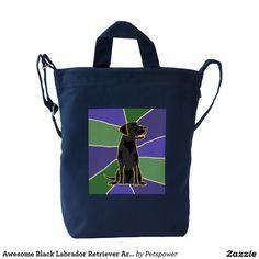 Awesome Black Labrador Retriever Art Bag Duck Canvas Bag