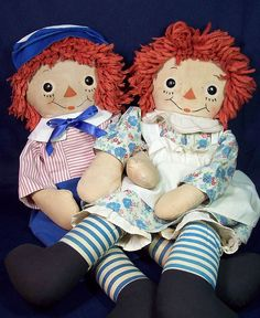 RARE BLUE STRIPED LEGS RAGGEDY ANN & ANDY BY GEORGENE (These are at our home in Montana ~ got from Michael).