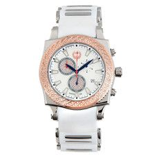 This stainless steel timepiece with white diamonds on the rose-gold plated bezel is striking. The smooth white silicone rubber strap includes stainless steel links. The chronograph function gives a sporty look and increased functionality.
