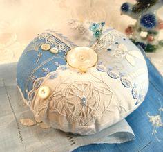 Pincushion Classic Vintage Linens Crazy Quilt by fiberluscious