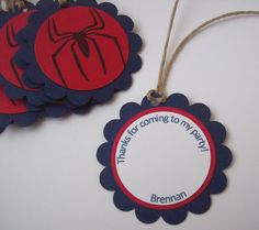 Spiderman Favor Tags  Set of 10 by sillylittlegoose on Etsy, $5.00