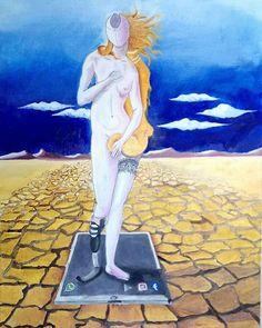 """Giovani d'oggi...  La Venere è un'illusione seducente.L'ambiente arido dove """"l'acqua"""" scarseggia e le  nuvole svaniscono nell'immensità del cielo, esprime la povertà della gioventù. Il progresso  gestisce le nostre scelte e si impossessa della nostra personalità, riducendoci incapaci di vivere la realtà. Ritroveremo  il valore della vita? olio su cartoncino"""