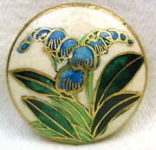 Vintage Satsuma Button Pretty Blue Flowers Design w/ Gold Accents