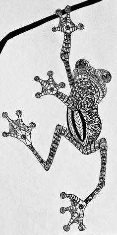 animal Zentangle | ... - Zentangle Drawing - Tattooed Tree Frog - Zentangle Fine Art Print