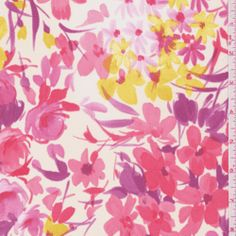 Ivory/Pink Floral Georgette - Fabric By The Yard