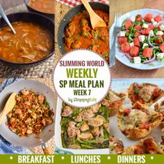 Slimming Eats SP Weekly Meal Plan - Week 7 - Slimming World - taking the work out of planning, so that you can just cook and enjoy the food. astuce recette minceur girl world world recipes world snacks Sp Meals Slimming World, Slimming World Plan, Slimming Eats, Slimming Recipes, Slimming Workd, 7 Day Meal Plan, Diet Meal Plans, Meal Prep, Diet Recipes