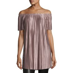 Glamorous Off-the-Shoulder Pleated Tunic ($38) ❤ liked on Polyvore featuring tops, tunics and lilac