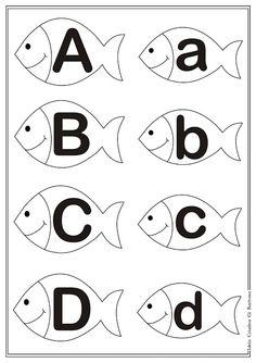 Letter en hoofdletter A-D rest is er ook Teaching Letters, Teaching Kids, Letter E Worksheets, Kindergarten Language Arts, Alphabet Activities, Letter Sounds, Toddler Learning, Book Projects, Learning Centers