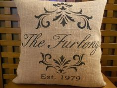 Burlap pillow cover - family name - established date - personalized - Pillow cover only - pillow form/insert sold separately. $29.00, via Etsy.