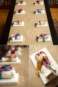 Kraft paper table covering.