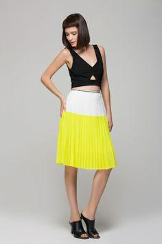 Yellow color block skirt