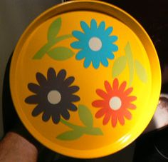 70s Vintage Psychedelic Flower Power Round Metal Serving Tray Plate from BRAZIL | eBay
