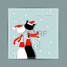 Feliz Navidad diseño de la postal con pareja de gatos de santa