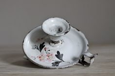 Beautiful Hand Painted French Enamel Candle Holder 48