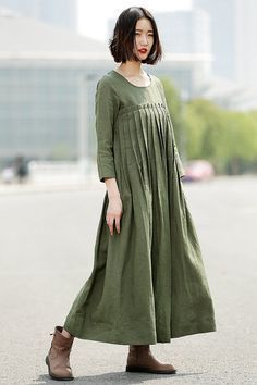 Pleated Linen Dress in green by YL1dress on Etsy, $109.99
