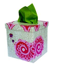 Hand decorated tissue box using decoupage techniques and Decopatch paper.