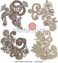 stock-vector-collection-of-hand-draw-line-art-ornate-flower-design-ukrainian-traditional-style-113513161.jpg (430×470)