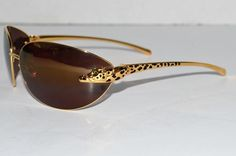 Auth Cartier Panthere Serie LTD Edition Emerald Gold Plated Frame Sunglasses #Cartier #Shield