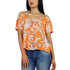 Vero Moda Bright Orange Palm Tree Print Off The Shoulder Top At Pink Cadillac Boutique www.pinkcadillac.co.uk